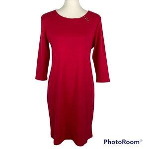 MP Red Boat-Neck Sheath Dress by Karen Scott Red MEDIUM PETITE NEW